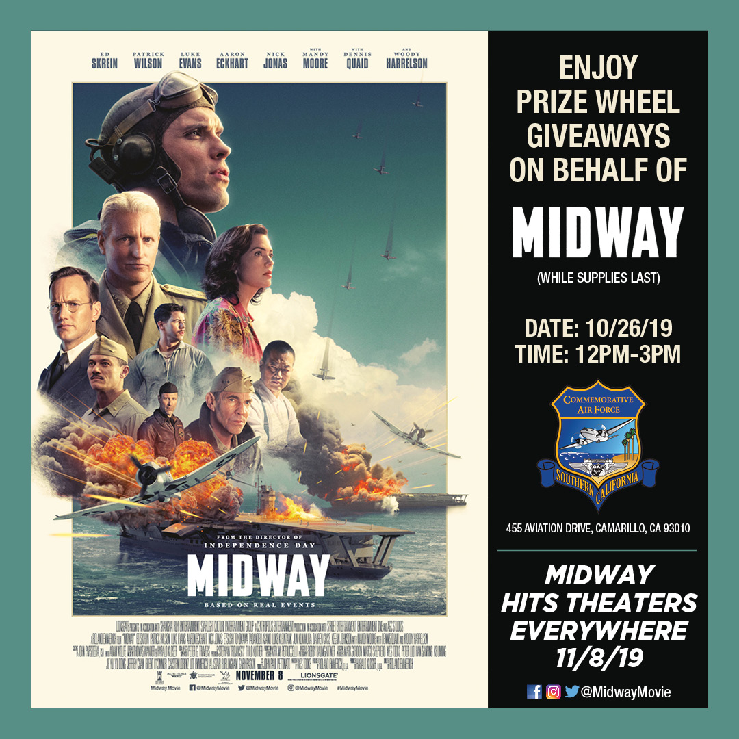Midway movie promotional giveaway October 26th 2019 starting at 12pm.